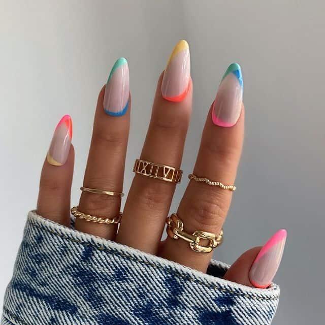 vacation nails, vacation nails acrylic, vacation nails simple, vacation nails 2021, beach nails, beachy nails, beach nails vacation, beach nail designs, rainbow nails, French tip nails
