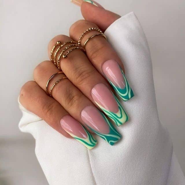 vacation nails, vacation nails acrylic, vacation nails simple, vacation nails 2021, beach nails, beachy nails, beach nails vacation, beach nail designs, swirl nails, green nails