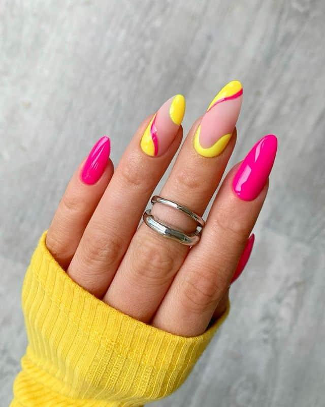 vacation nails, vacation nails acrylic, vacation nails simple, vacation nails 2021, beach nails, beachy nails, beach nails vacation, beach nail designs, yellow nails, pink nails, swirl nails