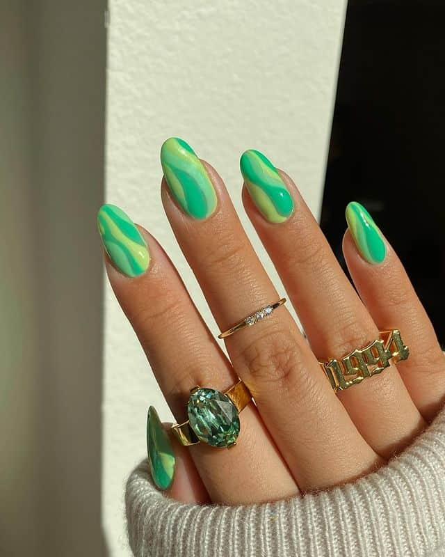 swirl nails, swirl nails acrylic, swirl nails 2021, swirl nails designs, swirl nails coffin, swirl nail art, swirl nail ideas, easy swirl nails, summer nails, summer nail art, green swirl nails