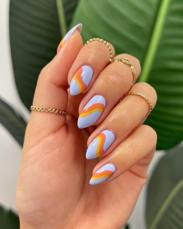 swirl nails, swirl nails acrylic, swirl nails 2021, swirl nails designs, swirl nails coffin, swirl nail art, swirl nail ideas, easy swirl nails, summer nails, summer nail art, swirl nails orange, swirl nails blue