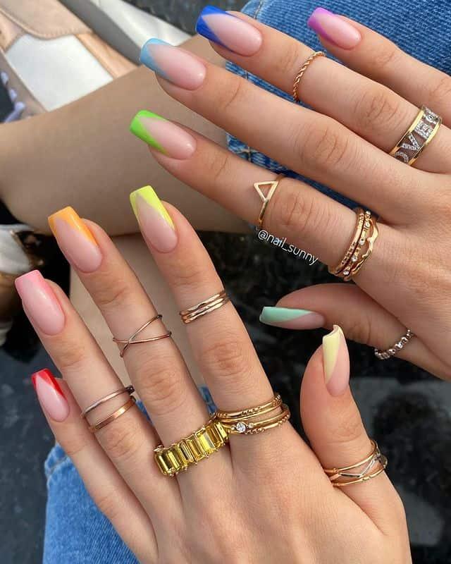 vacation nails, vacation nails acrylic, vacation nails simple, vacation nails 2021, beach nails, beachy nails, beach nails vacation, beach nail designs, French tip nails, rainbow nails