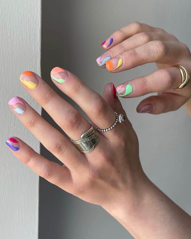 swirl nails, swirl nails acrylic, swirl nails 2021, swirl nails designs, swirl nails coffin, swirl nail art, swirl nail ideas, easy swirl nails, summer nails, summer nail art, rainbow swirl nails