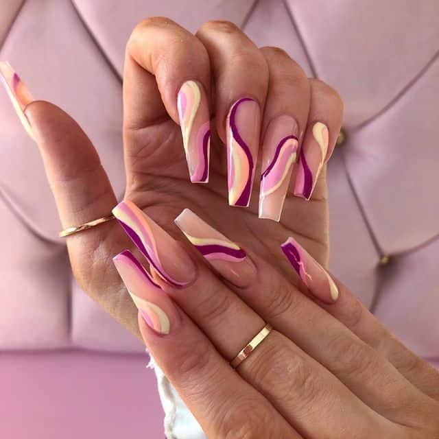 swirl nails, swirl nails acrylic, swirl nails 2021, swirl nails designs, swirl nails coffin, swirl nail art, swirl nail ideas, easy swirl nails, summer nails, summer nail art, pink swirl nails