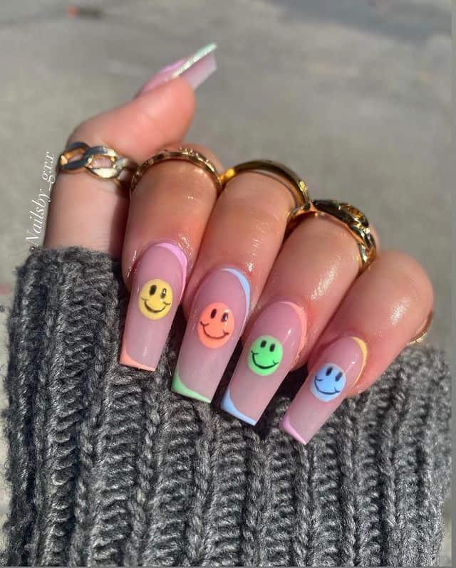vacation nails, vacation nails acrylic, vacation nails simple, vacation nails 2021, beach nails, beachy nails, beach nails vacation, beach nail designs, happy face nails, rainbow nails