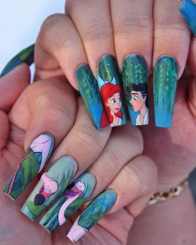 Disney Nails, disney nail designs, Disney Nails simple, disney nail art, Disney Nails acrylic, disney nail ideas, Disney Nails easy, little mermaid nails, little mermaid nail art, Ariel nails