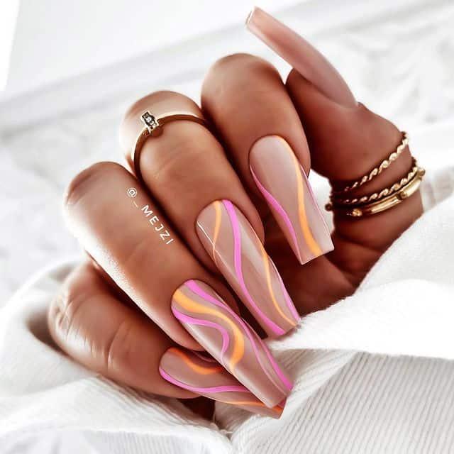 swirl nails, swirl nails acrylic, swirl nails 2021, swirl nails designs, swirl nails coffin, swirl nail art, swirl nail ideas, easy swirl nails, summer nails, summer nail art, swirl nails pink, swirl nails orange