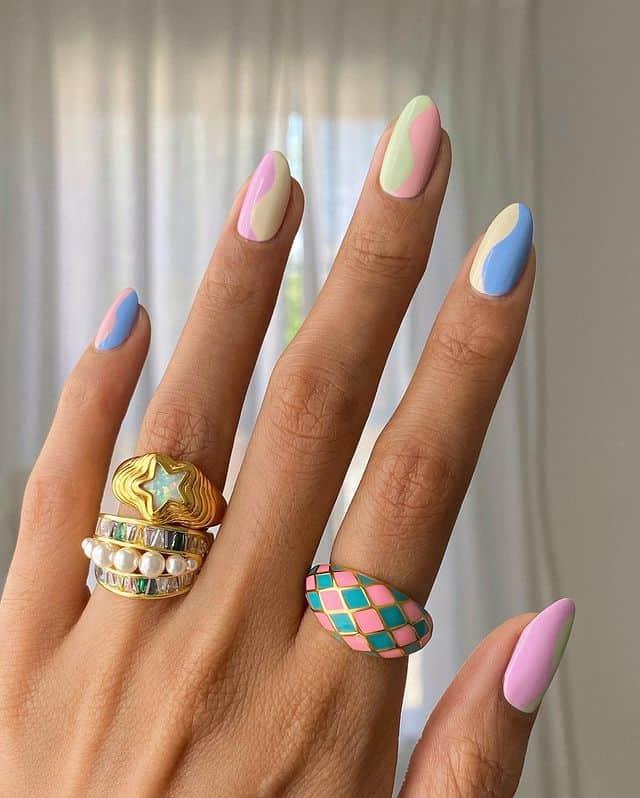 swirl nails, swirl nails acrylic, swirl nails 2021, swirl nails designs, swirl nails coffin, swirl nail art, swirl nail ideas, easy swirl nails, summer nails, summer nail art, pastel nails, indie nails