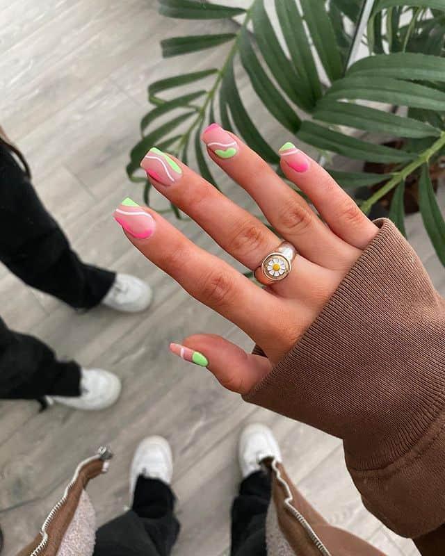 swirl nails, swirl nails acrylic, swirl nails 2021, swirl nails designs, swirl nails coffin, swirl nail art, swirl nail ideas, easy swirl nails, summer nails, summer nail art, pink swirl nails, green swirl nails
