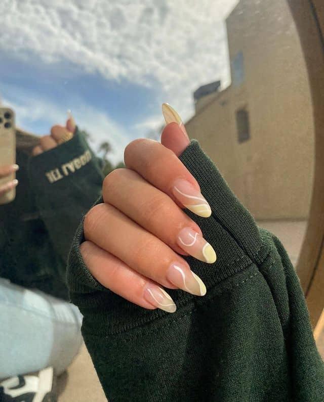 swirl nails, swirl nails acrylic, swirl nails 2021, swirl nails designs, swirl nails coffin, swirl nail art, swirl nail ideas, easy swirl nails, summer nails, summer nail art, yellow swirl nails
