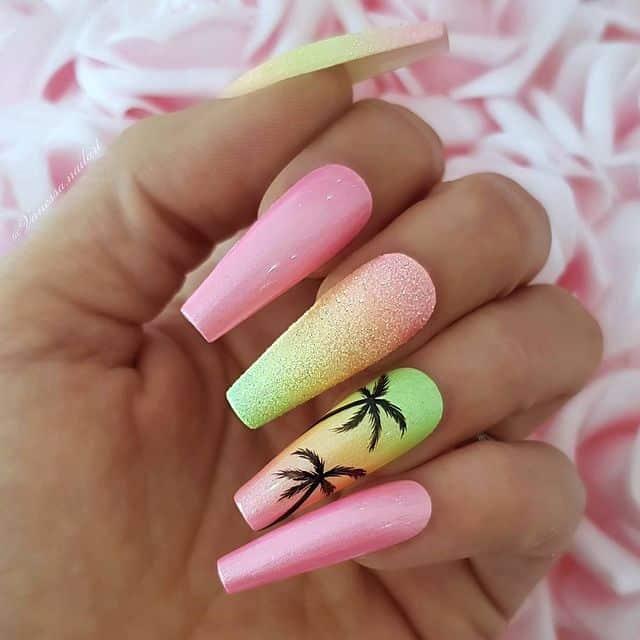 vacation nails, vacation nails acrylic, vacation nails simple, vacation nails 2021, beach nails, beachy nails, beach nails vacation, beach nail designs, tropical nails, palm tree nails