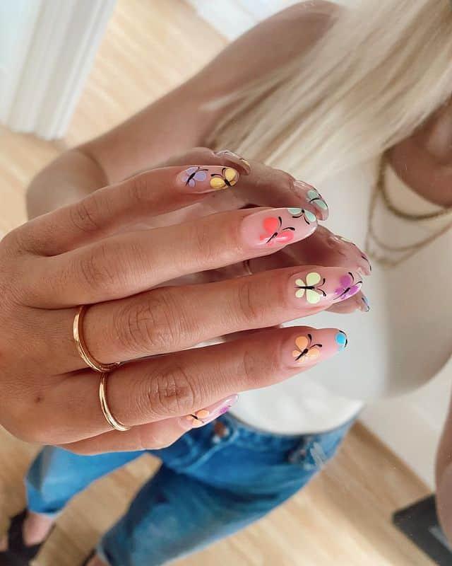 butterfly nails, butterfly nails acrylics, butterfly nails coffin, butterfly nail art, butterfly nail ideas, butterfly nail designs, neutral nails, rainbow butterfly nails, pink butterfly nails, pink nail art, summer nails, rainbow nails