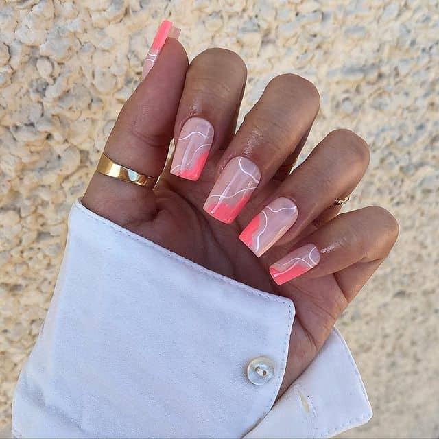 vacation nails, vacation nails acrylic, vacation nails simple, vacation nails 2021, beach nails, beachy nails, beach nails vacation, beach nail designs, line art nails, pink nails,