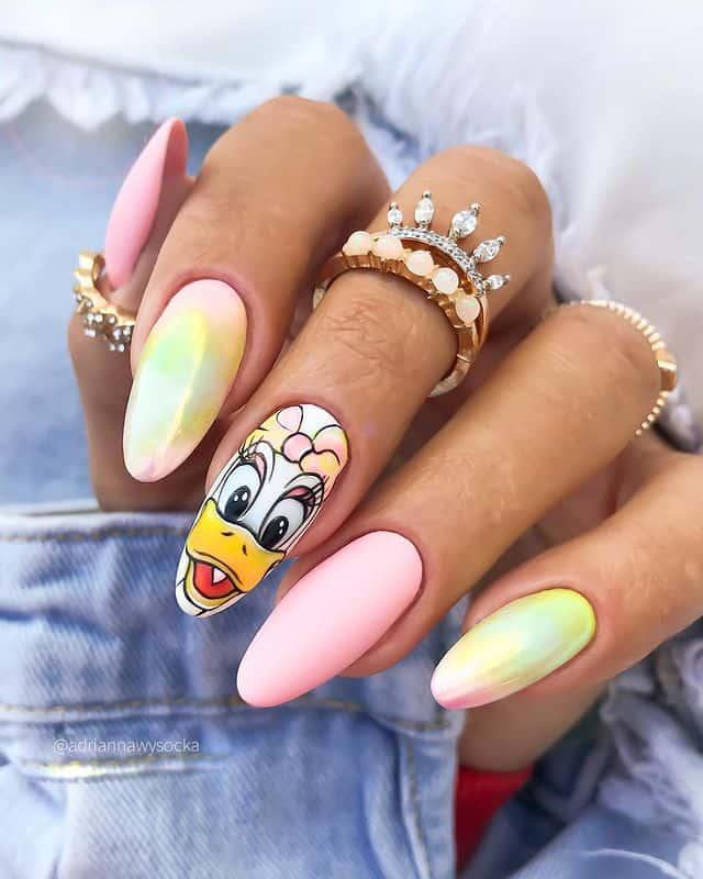 Disney Nails, disney nail designs, Disney Nails simple, disney nail art, Disney Nails acrylic, disney nail ideas, Disney Nails easy, daisy duke nails, ombre nails, daisy duke nail design