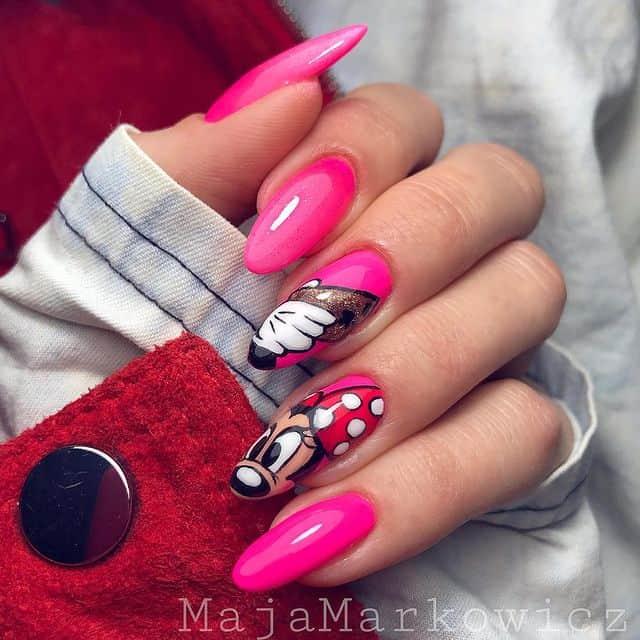 Disney Nails, disney nail designs, Disney Nails simple, disney nail art, Disney Nails acrylic, disney nail ideas, Disney Nails easy, mini mouse nails, mini mouse nail design, pink nails