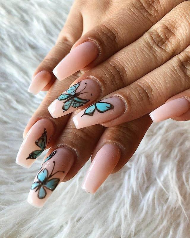 butterfly nails, butterfly nails acrylics, butterfly nails coffin, butterfly nail art, butterfly nail ideas, butterfly nail designs, neutral nails, rainbow butterfly nails, pink butterfly nails, pink nail art, summer nails, blue butterfly nails, blue nails
