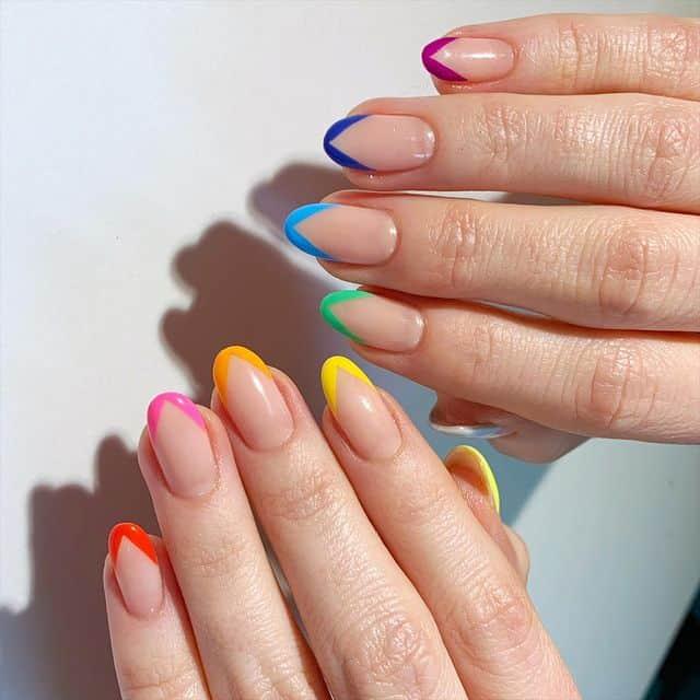 rainbow nails, rainbow nail art, rainbow nails acrylic, rainbow nails design, rainbow nail art designs, rainbow nail tips, French tip nails