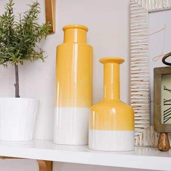 vase, vase decorating ideas, vases decor, vase filler ideas, DIY vase, flower vase, flower vases, ceramic vase, modern decor, yellow vase