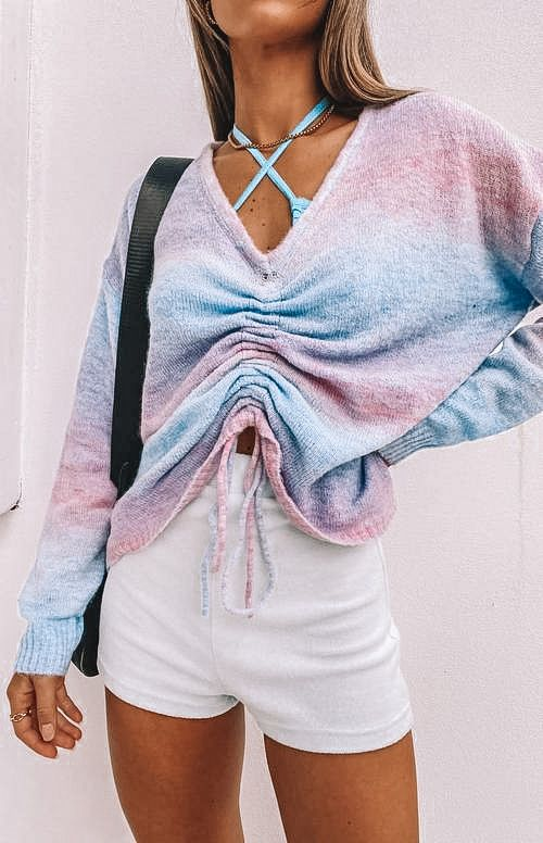 casual summer outfits, casual summer outfits for women, casual summer outfits for teens, summer outfits, summer outfits 2021, summer outfits aesthetic, ruched sweater outfit, tie dye outfit, ombre outfit