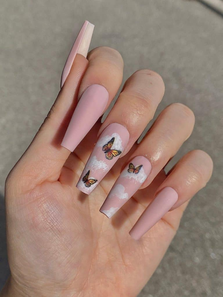 butterfly nails, butterfly nails acrylics, butterfly nails coffin, butterfly nail art, butterfly nail ideas, butterfly nail designs, neutral nails, rainbow butterfly nails, press on nails, butterfly press on nails