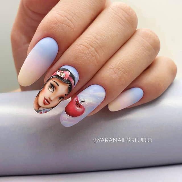 Disney Nails, disney nail designs, Disney Nails simple, disney nail art, Disney Nails acrylic, disney nail ideas, Disney Nails easy, Snow White nails, Snow White nail design
