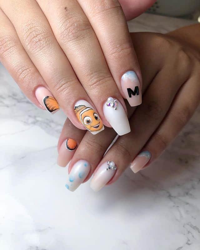 Disney Nails, disney nail designs, Disney Nails simple, disney nail art, Disney Nails acrylic, disney nail ideas, Disney Nails easy, finding Nemo nails