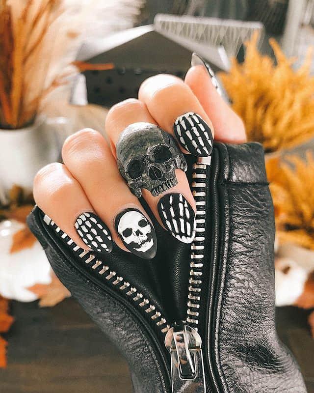 halloween nails, halloween nails acrylic, halloween nails ideas, halloween nails short, halloween nails simple, halloween nails easy, halloween nails 2021, halloween nails acrylic coffin, skull nails, skull nail art, black nails