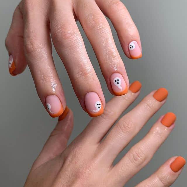 halloween nails, halloween nails acrylic, halloween nails ideas, halloween nails short, halloween nails simple, halloween nails easy, halloween nails 2021, halloween nails acrylic coffin, orange nails, orange nail art, ghost nails, ghost nail ideas
