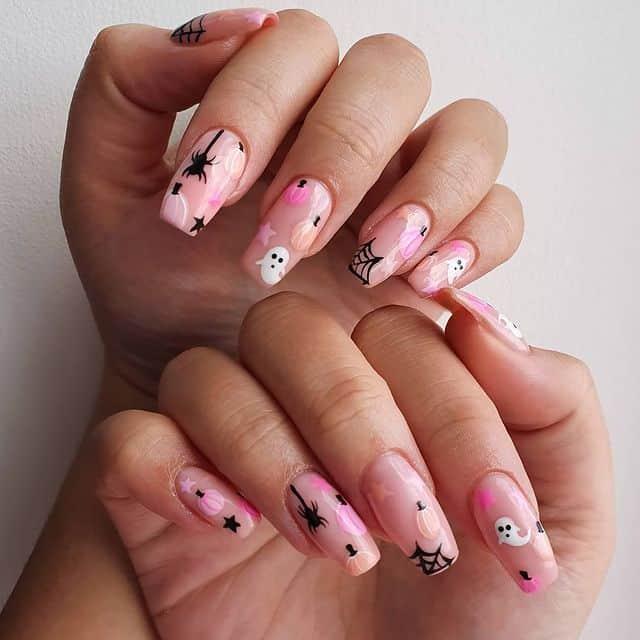 halloween nails, halloween nails acrylic, halloween nails ideas, halloween nails short, halloween nails simple, halloween nails easy, halloween nails 2021, halloween nails acrylic coffin, pink halloween nails