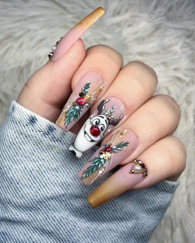 Disney Nails, disney nail designs, Disney Nails simple, disney nail art, Disney Nails acrylic, disney nail ideas, Disney Nails easy, frozen nails, frozen nail art, Olaf nails