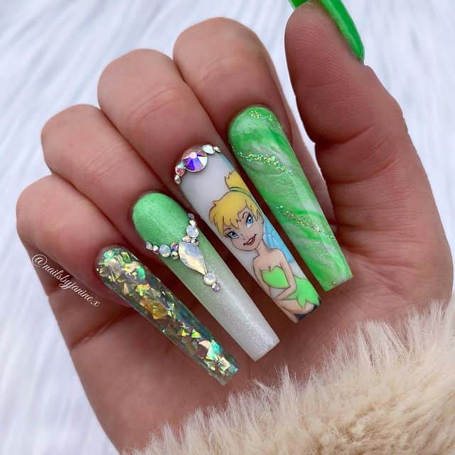 Disney Nails, disney nail designs, Disney Nails simple, disney nail art, Disney Nails acrylic, disney nail ideas, Disney Nails easy, Peter Pan nails, tinker bell nails