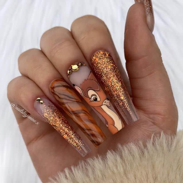 Disney Nails, disney nail designs, Disney Nails simple, disney nail art, Disney Nails acrylic, disney nail ideas, Disney Nails easy, Bambi nails, Bambi nail art, Bambi nail designs