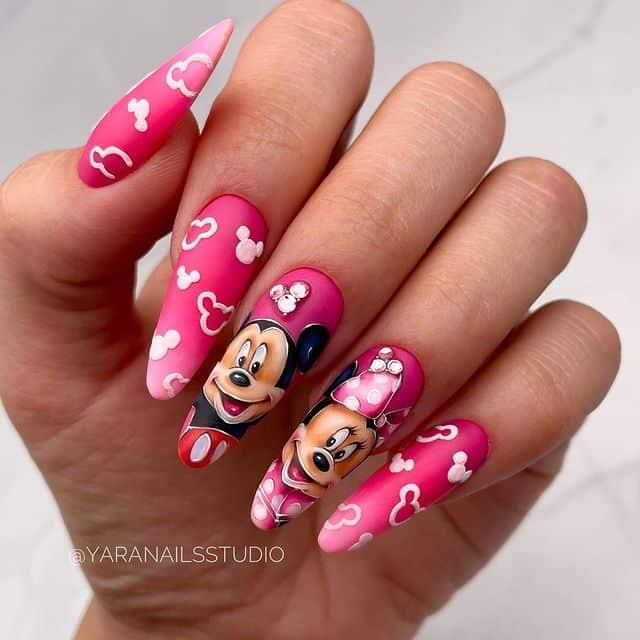 Disney Nails, disney nail designs, Disney Nails simple, disney nail art, Disney Nails acrylic, disney nail ideas, Disney Nails easy, Mickey Mouse nails, Mickey Mouse nail art, pink nails, pink nail art