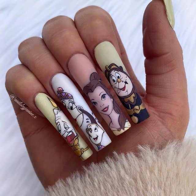 Disney Nails, disney nail designs, Disney Nails simple, disney nail art, Disney Nails acrylic, disney nail ideas, Disney Nails easy, beauty and the beast nails, beauty and the beast nail designs