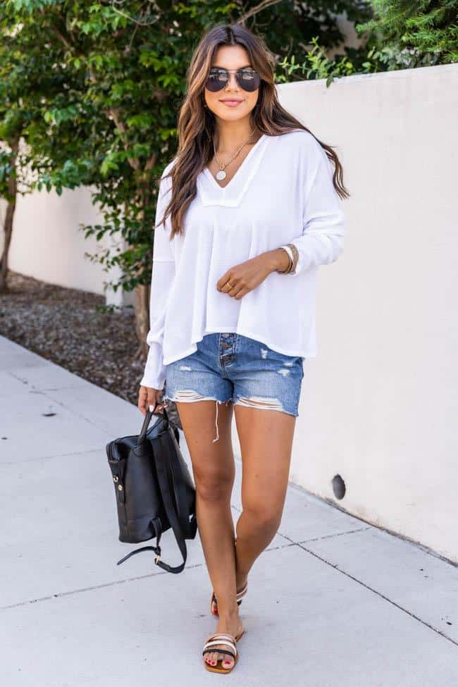 casual summer outfits, casual summer outfits for women, casual summer outfits for teens, summer outfits, summer outfits 2021, summer outfits aesthetic, white sweater outfit, denim shorts outfit