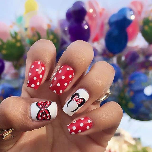 Disney Nails, disney nail designs, Disney Nails simple, disney nail art, Disney Nails acrylic, disney nail ideas, Disney Nails easy, mini mouse nails, mini mouse nail art