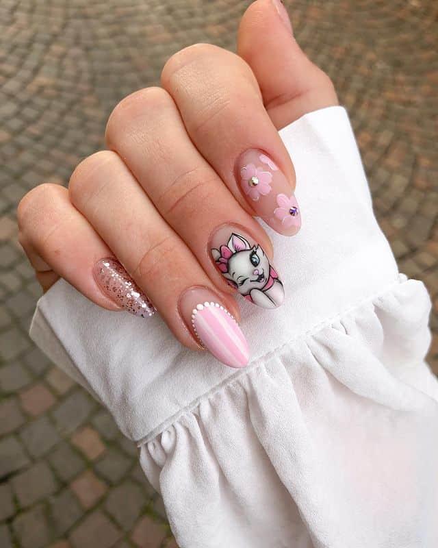 Disney Nails, disney nail designs, Disney Nails simple, disney nail art, Disney Nails acrylic, disney nail ideas, Disney Nails easy, pink nails
