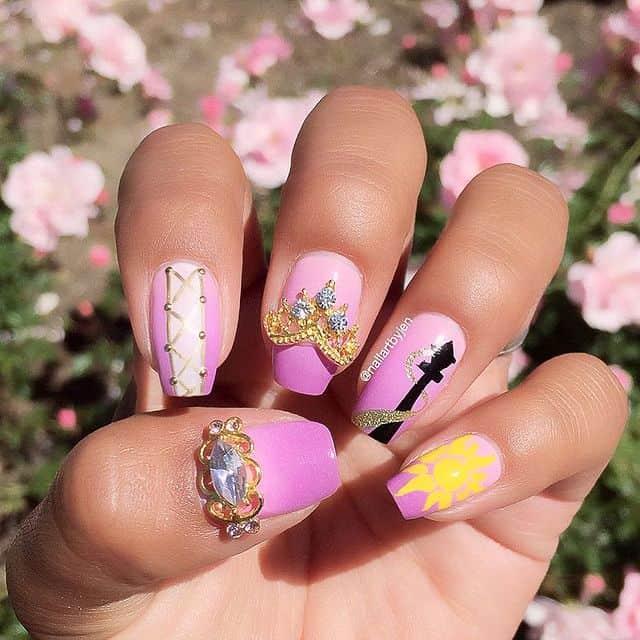 Disney Nails, disney nail designs, Disney Nails simple, disney nail art, Disney Nails acrylic, disney nail ideas, Disney Nails easy, pink nails, princess nails