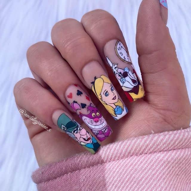 Disney Nails, disney nail designs, Disney Nails simple, disney nail art, Disney Nails acrylic, disney nail ideas, Disney Nails easy, Alice in wonderland nails