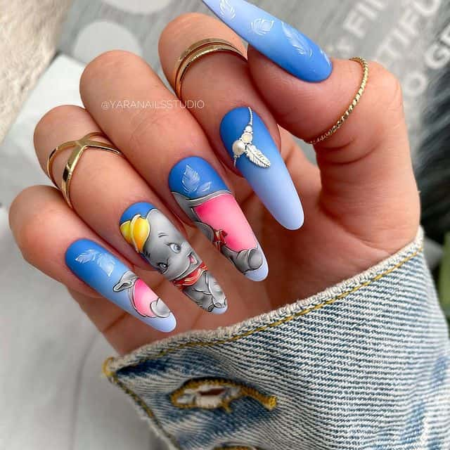 Disney Nails, disney nail designs, Disney Nails simple, disney nail art, Disney Nails acrylic, disney nail ideas, Disney Nails easy, dumbo nails