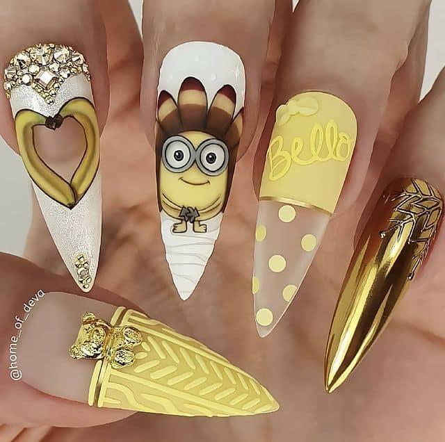 Disney Nails, disney nail designs, Disney Nails simple, disney nail art, Disney Nails acrylic, disney nail ideas, Disney Nails easy, minion nails, minion nail art