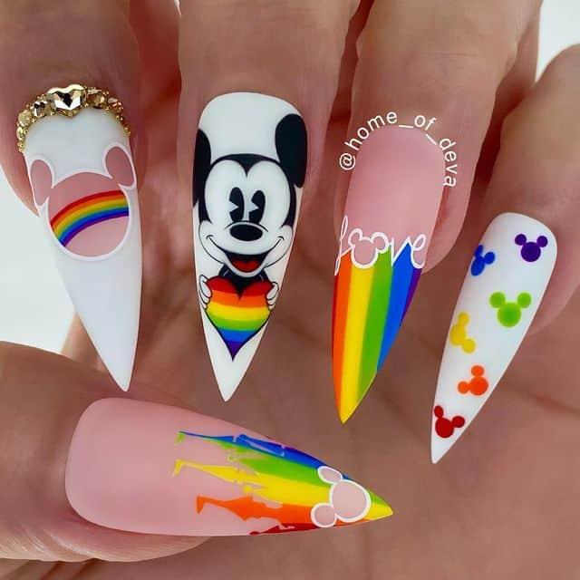 Disney Nails, disney nail designs, Disney Nails simple, disney nail art, Disney Nails acrylic, disney nail ideas, Disney Nails easy, Mickey Mouse nails, Mickey Mouse nail design, Mickey Mouse nails acrylic