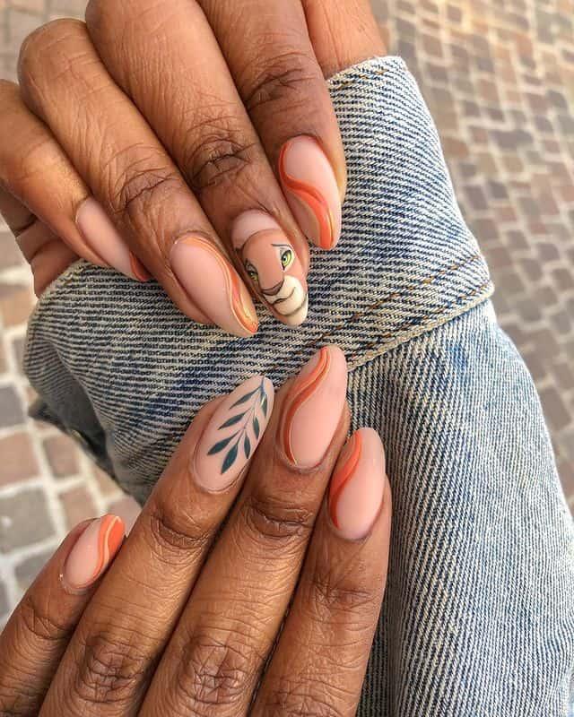 Disney Nails, disney nail designs, Disney Nails simple, disney nail art, Disney Nails acrylic, disney nail ideas, Disney Nails easy, lion king nails, lion king nail design, lion king nail art