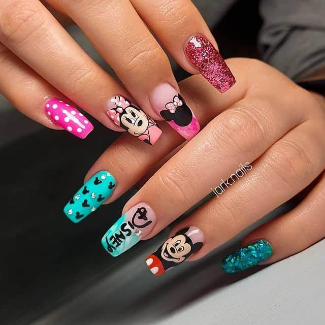 Disney Nails, disney nail designs, Disney Nails simple, disney nail art, Disney Nails acrylic, disney nail ideas, Disney Nails easy, Mickey Mouse nails, mini mouse nails
