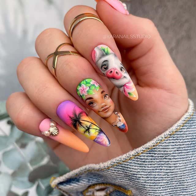 Disney Nails, disney nail designs, Disney Nails simple, disney nail art, Disney Nails acrylic, disney nail ideas, Disney Nails easy, Moana Nails