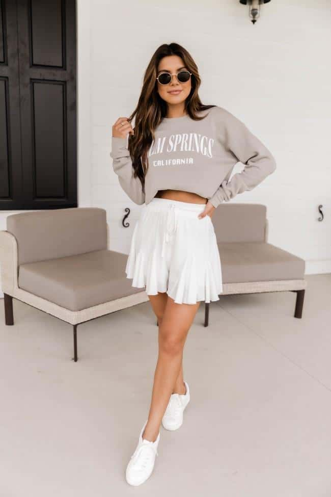 casual summer outfits, casual summer outfits for women, casual summer outfits for teens, summer outfits, summer outfits 2021, summer outfits aesthetic, casual sweater outfit, white skirt outfit, running shoes outfit