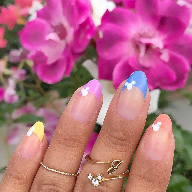 Disney Nails, disney nail designs, Disney Nails simple, disney nail art, Disney Nails acrylic, disney nail ideas, Disney Nails easy,, French tip nails, rainbow nails