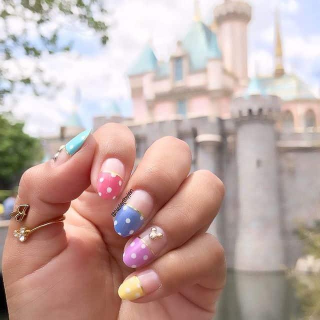 Disney Nails, disney nail designs, Disney Nails simple, disney nail art, Disney Nails acrylic, disney nail ideas, Disney Nails easy, rainbow nails, polka dot nails