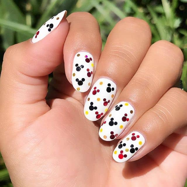 Disney Nails, disney nail designs, Disney Nails simple, disney nail art, Disney Nails acrylic, disney nail ideas, Disney Nails easy, Mickey Mouse nails, white Disney Nails