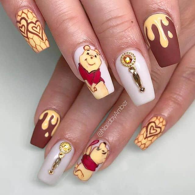 Disney Nails, disney nail designs, Disney Nails simple, disney nail art, Disney Nails acrylic, disney nail ideas, Disney Nails easy, Winnie the Pooh nails, Winnie the Pooh nail design